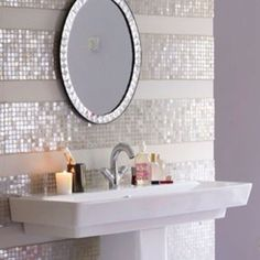 Sparkle striped tiled backspalsh wall. How cute would this be on my girls.bathroom one day?!?! Love it! half baths, bathroom tile wall, backsplash tile, guest bath, master baths, stripe, tile backsplash bathroom, girls bathrooms, tiled bathroom walls