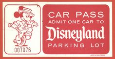 vintage disneyland parking pass