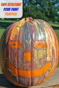 Frogs and Snails and Puppy Dog Tail (FSPDT): Tape Resistant Pour Paint Pumpkin Decorating