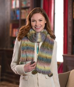 Reversible Cable Scarf Free Knitting Pattern from Red Heart Yarns