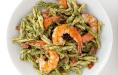 Pasta with Pesto, Shrimp, and Cured Ham photo