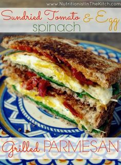 Sundried Tomato, Spinach & Egg Grilled Parmesan. (GF Option via Nutritionist in the Kitch)