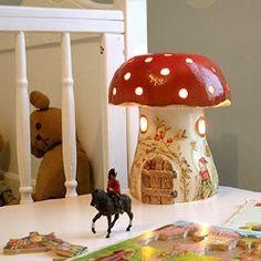 mushroom, dreams, british, night lights, nurseri, fairi, babi room, childhood, hous lantern