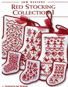 BLACK FRIDAY SALE cross stitch pattern & threads : red stocking collection I jBw designs crescent colours Christmas counted cross stitch diy. $7.25, via Etsy.