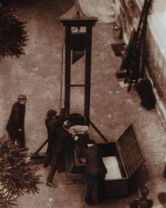 Probably the most famous photograph of the guillotine ever taken, it depicts the last public execution to take place in France. Taken on June 17, 1939 in Versailles, it shows Eugene Weidmann, a six-time murderer, about one second away from losing his head.