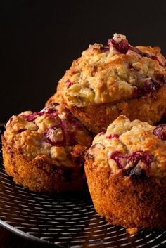 Strawberry Rhubarb Muffins Recipe - These are pretty spectacular.