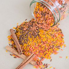 Make this cinnamon scented fall coloured rice for your fall center pieces or put it in a rice sensory bin for your kids to play with.
