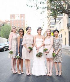 bridesmaids in mixed pinks hues + gray