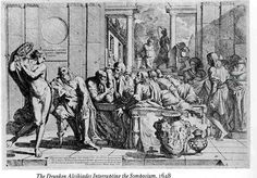 This 17th-century engraving by Pietro Testa depicts the drunken Alcibiades interrupting a more sedate get-together (as described by Plato in his dialogue Symposium).