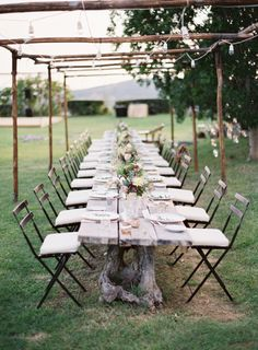 Amazing seating for outdoor wedding. table settings, tree stumps, tuscan wedding, rustic table, dinner parties, outdoor parties, outdoor tables, long tables, reception tables