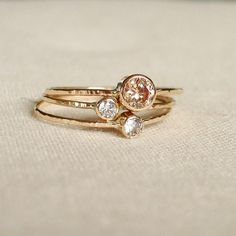 etsy -- Sparkling Threads of Gold - Set of Three Tiny Stack Rings with 14k Gold Set Faceted Stones -
