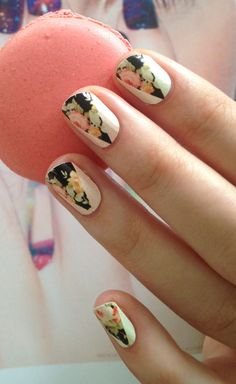 Peak-a-boo floral nails.