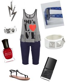 90's love black & white striped tank, skinny navy bermuda shorts, black studded toe strap thong sandals, sparkly gunmetal toes, glittery ruby red nails, silver peace ring, hematite lightning bolt earrings, blue checkered vans sunglasses, white pyramid stud cuff <3 <3