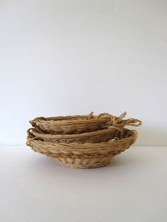 Vintage 3 tier woven hanging kitchen basket