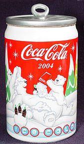 Coca-Cola Can with Polar Bear Cookie Jar
