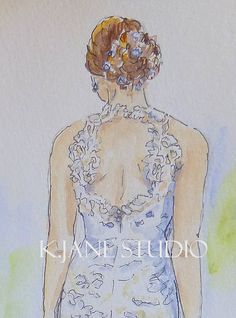 "Original 8x10 Custom Watercolor and Ink  Painting of Bride in her Gorgeous ""Anna Maier"" Gown from Hitched Salon D.C."