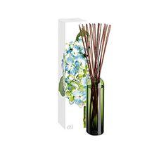 DayNa Decker Botanika Essence Indigo Diffuser - Apple, Plumeria, Muguet, Ozone, White Wood & Musk Powder. Signature botanical oils. Hand blown, green vessel. Twenty reed sticks. 16 oz.