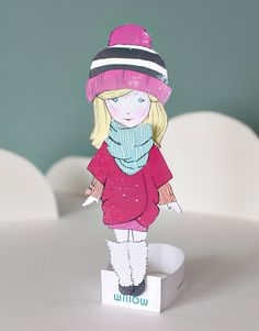 Willow printable paper doll with winter wardrobe at Smallfull