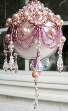 holiday, pearl, bead christma, xmas ornament, pink christma, bead ornament, christmas ornaments, christma ornament, bocha