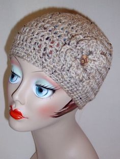 Handmade Adult Crochet Hat with Flower in Oatmeal Color 25 more Color Choices $20