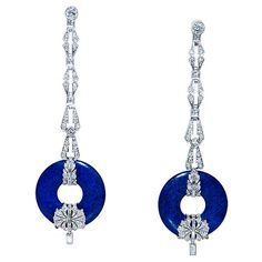 Art Deco Diamond & Lapis Lazuli Earrings, 1930s.