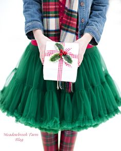 petticoats and plaid tutu skirts, gift, christma outfit, tulle skirts, holiday outfits, green, jean jackets, christmas outfits, petticoat