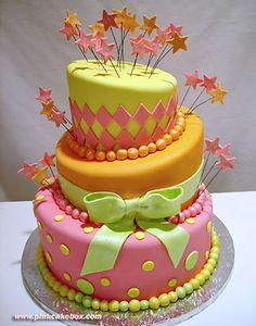 Neon Topsy-Turvy Cake