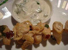 Chipotle Chicken Skewers with Creamy Cilantro Dipping Sauce... for Oscar party?