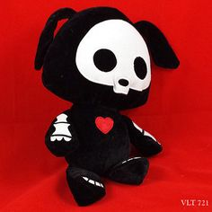 Skelanimals-Dax-the-Dog-Black-Plush-Cloth-Details-with-Embroidery-Outlines-13