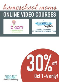 BIG SALE on classes for homeschool moms! Find peace, joy and a realistic way to manage your homeschool learning flow (no more rigid schedules!) | #rhythmbasedhomeschooling| vibranthomeschooling.com