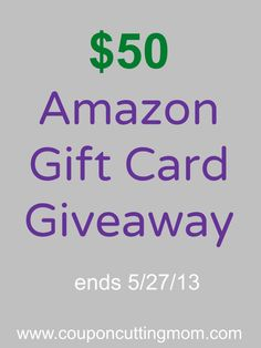 Enter to win a $50 Amazon gift card. This giveaway is open through 5/27/13.