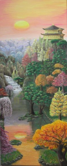 Imagined autunm in Japan, oil on canvas 40x100cm 2010, Imagined vertically composition to increase the movement of water and remember the techniques of ink used in Eastern countries. Aerial perspective where there are mountains with a special way in this country but with a touch of magic and mystical at once. The technique differs between elements, highlighting trees with branches exhaling through fillings or water whose colors are made by small strokes that blend colour for reflection