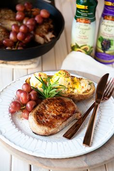Roasted Grape Pork Chops with Twice Baked Potatoes Recipe