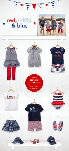 Find the perfect patriotic outfit for your little sparklers from Carter's.