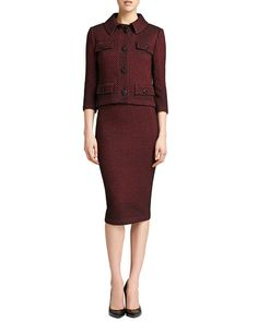 -55YP St. John Collection Stripe Knit 3/4-Sleeve Jacket, Pencil Skirt & Sleeveless Crinkle Silk Shell