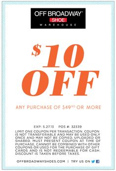 Off broadway coupon code