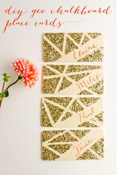 obsessed with these DIY geo glittered chalkboard placecards by flax & twine