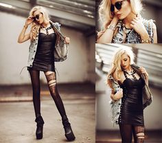 Romwe Dress, Jeffrey Campbell Boots, Coal N Terry  Vest, Chicwish Sunglasses, Coal N Terry Necklace, Coal N Terry Bracelet, Coal N Terry Bracelet