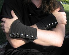 DIY t-shirt sleeve to steampunk spat styled wrist cuff -with tutorial and lotta pics - CLOTHING