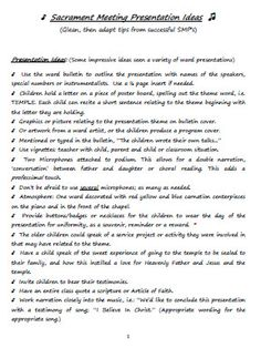 Sacrament Meeting Presentation Ideas and Checklist
