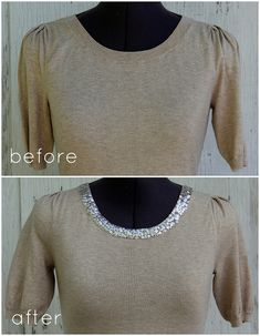 How to Make a Sequin Trim Sweater by Kristina
