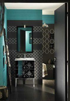 blue and black bathroom. lovely