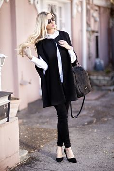 A Cape & Collar Barefoot Blonde by Amber Fillerup Clark blond black, cape, collar, barefoot blond