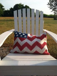 Chevron American Flag Pillow