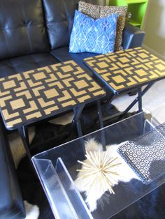 Champagne Lifestyle Blog: TV Tray Makeover.  TV trays stenciled with Krylon Gold Leaf Pen