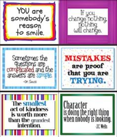 63 Inspirational Signs for Classroom in Color & Black & White. I will print these out and have a new quote each day. Love this idea