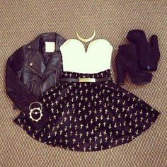 #skaterskirt #booties #bikerjacket #bustier #gold