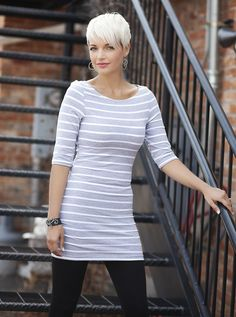 A Little Extra - Need something to go with everything in that closet? These EXTRA long striped tunics are the winners. Wear it on its own as a leggings tunic, or throw your favorite cardigan or jacket over it for a more dressed up look. Long Striped #tunics pickyourplum.com