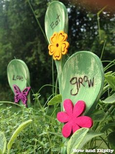 Use a wood burning tool to create these cute inspirational plant picks! More recycled idea's on this site. #recycledcrafts