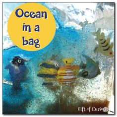 Ocean in a bag - squirt colored hair gel into a plastic bag, then add sand and fish to make an ocean in a bag #ocean #sensory #handsonlearning || Gift of Curiosity